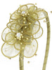 Girls Sage Green Organza Flower Headband w. Pearls & Gems  HB036