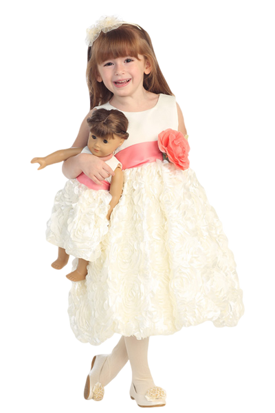 Ivory Flower Girls Bubble Dress w Satin Ribbon Flowers (BL220)