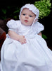 Baby Girls Floral Embroidered Christening Gown w. Lace Appliques  Kayla