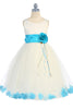 Ivory & Aqua Flower Girls Satin & Tulle Petal Dress w. Organza Sash KD160