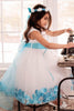 Aqua Flower Girls Satin & Tulle Petal Dress w. Organza Sash KD160