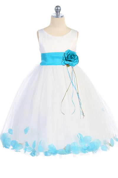 White & Aqua Flower Girls Satin & Tulle Petal Dress w. Organza Sash KD160