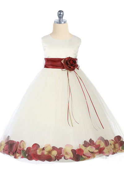 Ivory & Burgundy Flower Girls Satin & Tulle Petal Dress w. Organza Sash KD160-SASH