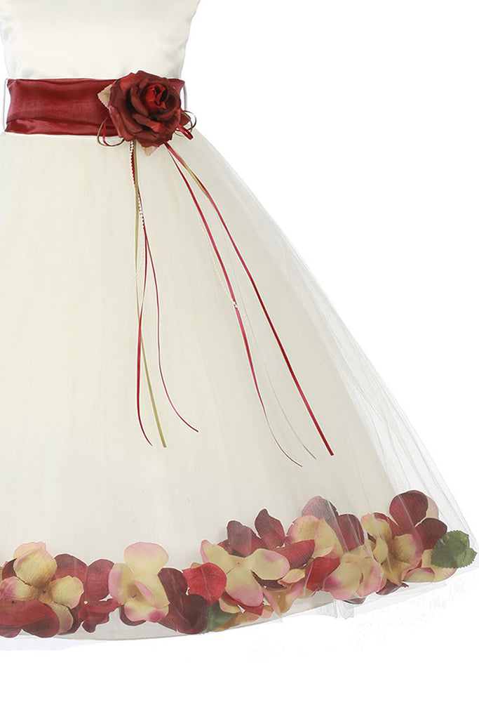d9f1395364f2 ... Burgundy Flower Girls Satin & Tulle Petal Dress w. Organza Sash KD160- SASH ...