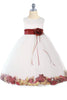 White & Burgundy Flower Girls Satin & Tulle Petal Dress w. Organza Sash KD160-SASH