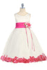Ivory & Fuchsia Flower Girls Satin & Tulle Petal Dress w. Organza Sash KD160-SASH