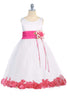White & Fuchsia Flower Girls Satin & Tulle Petal Dress w. Organza Sash KD160-SASH