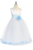 Light Blue Satin Flower Girl Petal Dress w. Organza Sash KD160-Sash