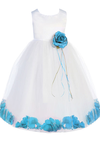 (Sale) Size 3T 4T White & Aqua Blue Satin Flower Girls Petal Dress