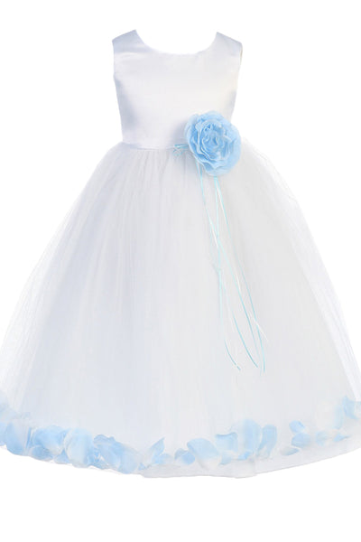 (Sale) Girls Size 5/6 White & Light Blue Satin Flower Girls Petal Dress