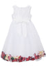 White & Burgundy Satin Flower Girls Petal Dress
