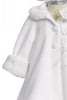 White Fleece & Fur Trimmed Infant Girls Dress Coat w. Hat KD166