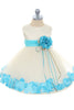 Ivory & Aqua Flower Girls Satin & Tulle Petal Dress w. Organza Sash KD195-SASH