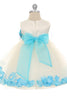 Aqua Flower Girls Satin & Tulle Petal Dress w. Organza Sash KD195-SASH