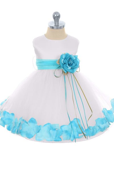White & Aqua Flower Girls Satin & Tulle Petal Dress w. Organza Sash KD195-SASH