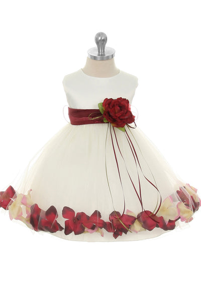 Ivory & Burgundy Flower Girls Satin & Tulle Petal Dress w. Organza Sash KD195-SASH