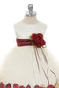 Burgundy Flower Girls Satin & Tulle Petal Dress w. Organza Sash KD195-SASH