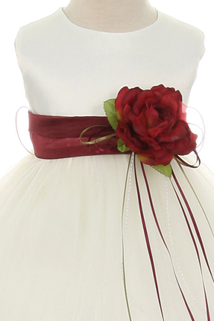 21bfdb26823c ... Burgundy Flower Girls Satin & Tulle Petal Dress w. Organza Sash KD195- SASH ...