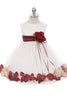 White & Burgundy Flower Girls Satin & Tulle Petal Dress w. Organza Sash KD195-SASH