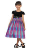 Girls Fuchsia Pink Plaid & Black Velvet Dress with Bow Accent Plus Sizes KD495B