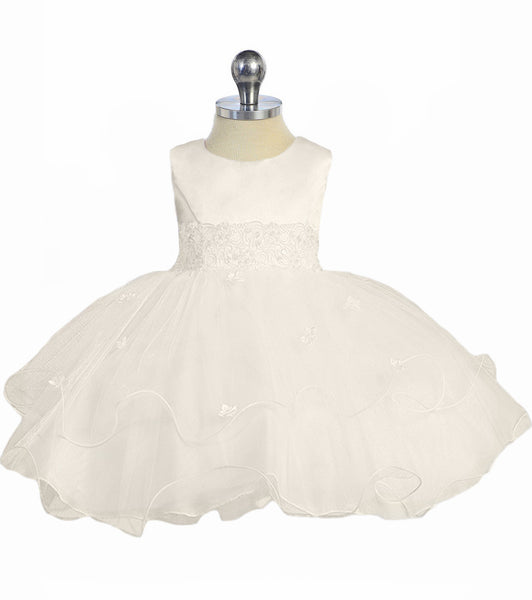 Ivory Lace Trim Baby Girls Formal Dress w. Tiered Lettuce Trim Tulle Skirt  KD210