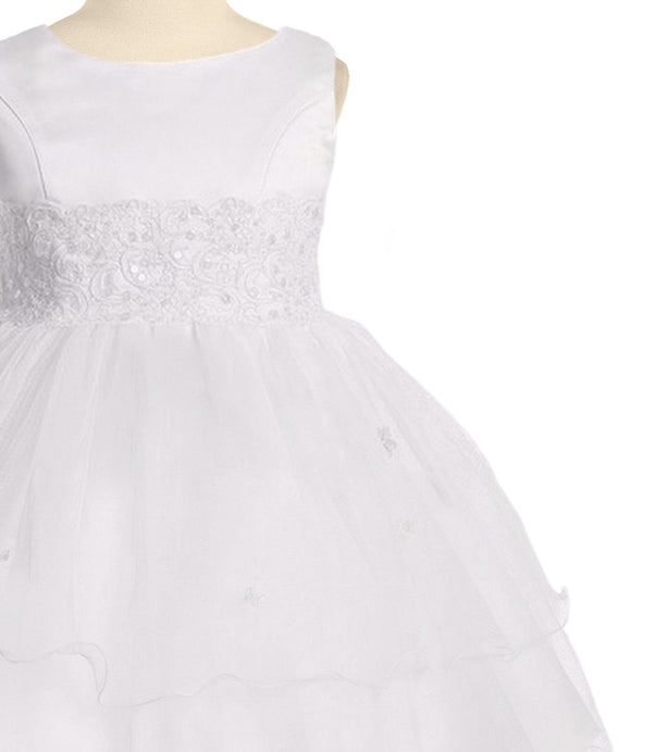 White Lace Trim Baby Girls Formal Dress W Tiered Lettuce Trim Tulle