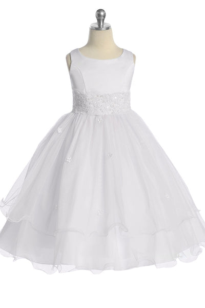 Girls White Lace Trim Formal Dress w. Tiered Lettuce Trim Tulle Skirt KD198