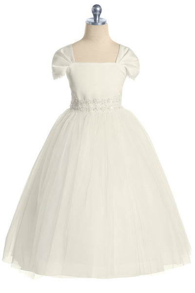 Ivory Satin & Tulle Girls Formal Dress with Fan Pleated Sleeves KD222