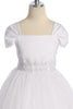 White Satin & Tulle Girls Formal Dress with Fan Pleated Sleeves  KD222