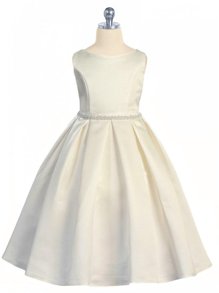 Girls Ivory Bridal Satin Formal Dress w. Pleated Skirt & Pearl Trim  KD235