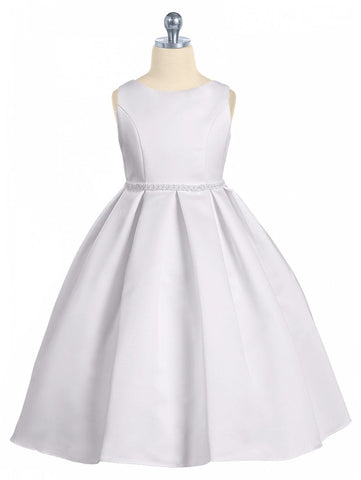 Girls White Bridal Satin Formal Dress w. Pleated Skirt & Pearl Trim  KD235