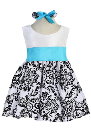 White Taffeta & Black Velvet Girls Holiday Dress w. Aqua Sash KD292