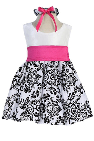 White Taffeta & Black Velvet Girls Holiday Dress w. Pink Sash KD294
