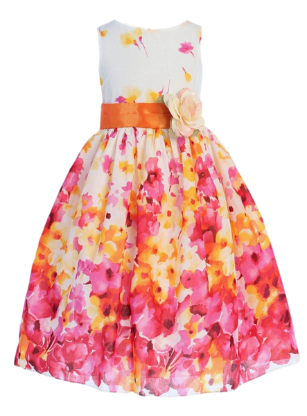 Girls Fuchsia & Orange Watercolor Floral Cotton Dress KD303