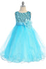 Girls Aqua Blue Sequin Party Dress w. Lettuce Tulle Hem KD305