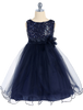 Navy Blue Sequined Bodice Dress with Lettuce Hem Tulle Skirt Girls 2T-14 KD305