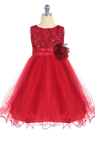 Girls Red Sequin Party Dress w. Lettuce Tulle Hem KD305