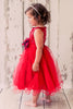 Girls Plus Size Red Sequin Party Dress w. Lettuce Tulle Hem KD305