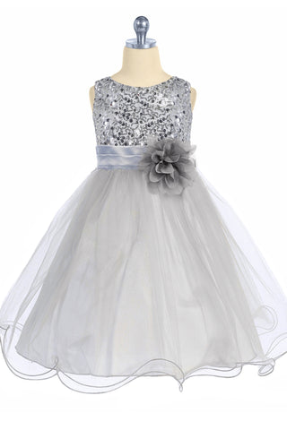 Girls Silver Sequin Party Dress w. Lettuce Tulle Hem KD305