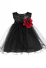 Baby Girls Black Sequin Party Dress with Lettuce Tulle Hem KD315