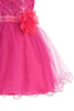 Baby Girls Fuchsia Pink Sequin Party Dress with Lettuce Tulle Hem KD315