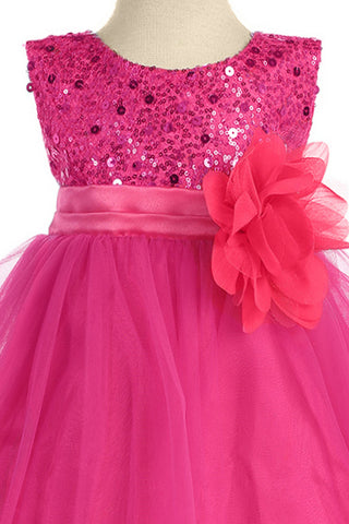Girls Fuchsia Pink Sequin Party Dress w. Lettuce Tulle Hem KD305