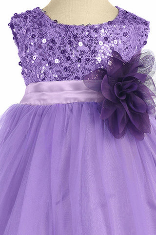 Girls Lavender Sequin Party Dress w. Lettuce Tulle Hem KD305