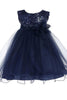 Baby Girls Navy Blue Sequin Party Dress with Lettuce Tulle Hem KD315