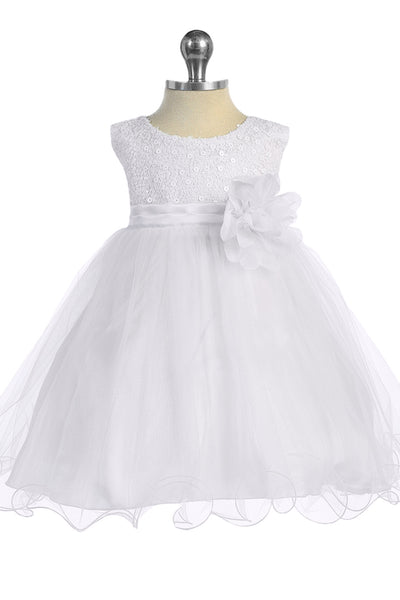 Baby Girls White Sequin Party Dress with Lettuce Tulle Hem KD315