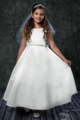 Girls Ivory Satin Full A-Line First Holy Communion Gown w. Pearl Trim KD386