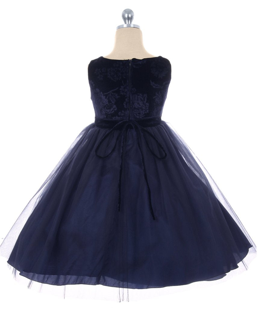 594f8d11147 girls navy blue floral velvet holiday dress with three layer tulle skirt 2t  12