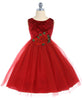 Girls Red Floral Velvet Holiday Dress with Three-Layer Tulle Skirt 2T-12 KD396