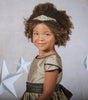 Champagne & Chocolate Slubbed Satin Girls Occasion Dress w. Tulip Sleeves KD406