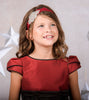Girls Red & Chocolate Slubbed Satin Occasion Dress w. Tulip Sleeves KD406